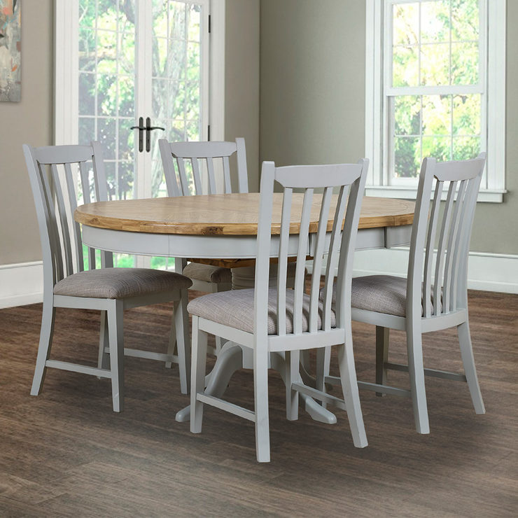 Toulouse Painted Light Grey Round Extending Dining Table + 4 Chairs, Seats  4 6