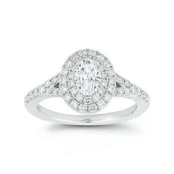 1.14ctw Oval and Round Brilliant Cut Diamond Ring, Platinum
