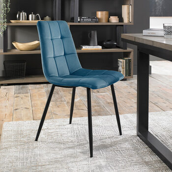 Bentley Designs Blue Velvet Tapered Back Dining Chair, 2 Pack