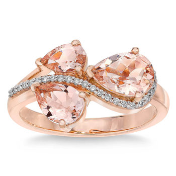 Pear Cut Morganite and 0.09ctw Diamond Ring, 14ct Rose Gold
