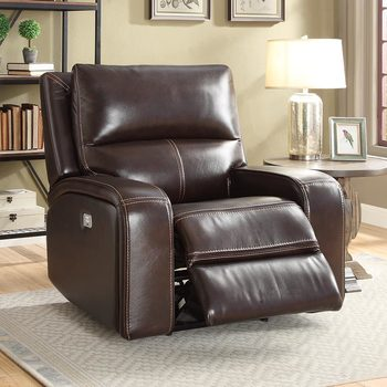 Zach Brown Leather Power Recliner Armchair