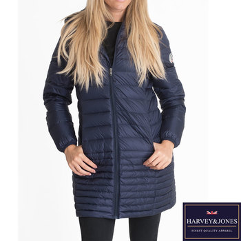 Harvey & Jones Marilyn Women's Ultra Lightweight Long Length Hooded Down Jacket in 2 Colours and  5 Sizes