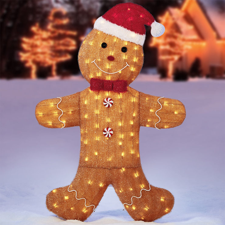 58 147cm christmas gingerbread man with 150 led lights - Christmas Gingerbread Man