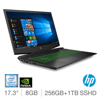 HP Pavilion, Intel Core i5, 8GB RAM, 256GB SSD + 1TB HDD, NVIDIA GeForce GTX 1650, 17.3 Inch Gaming Laptop, 17-CD0024NA