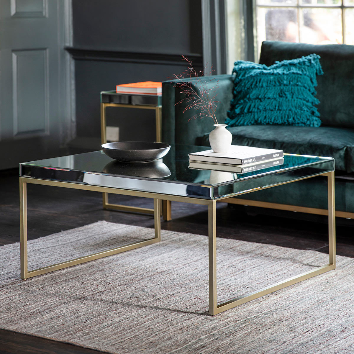 Pippard Coffee Table With Mirrored Top Champagne Costco Uk