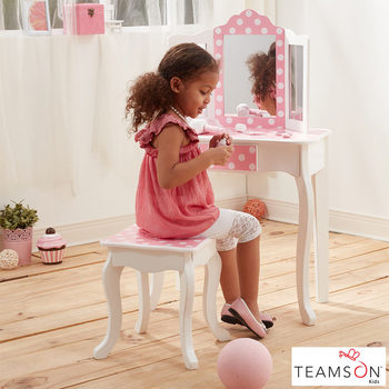 Teamson Kids Fashion Prints Vanity Table and Stool (3+ Years) in 3 Styles