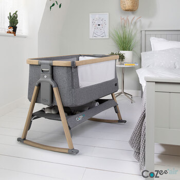 Tutti Bambini CoZee Air Bedside Rocking Crib, Oak and Charcoal
