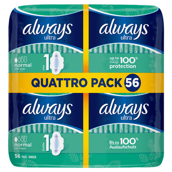 Always Ultra Normal Size 1 Sanitary Towels with Wings, 56 Pads