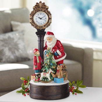 "20"" (51cm) Christmas Clock With Santa And LED Tree"