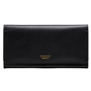 Osprey Nappa Leather Women's Purse, Black with Gift Box