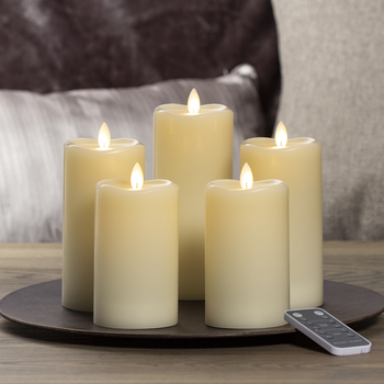 Sterno Home Pillar LED Candles with Moving Flame, 5 Pack