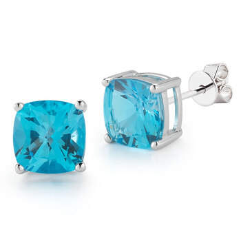 Cushion Cut Blue Topaz Earrings, 14ct White Gold