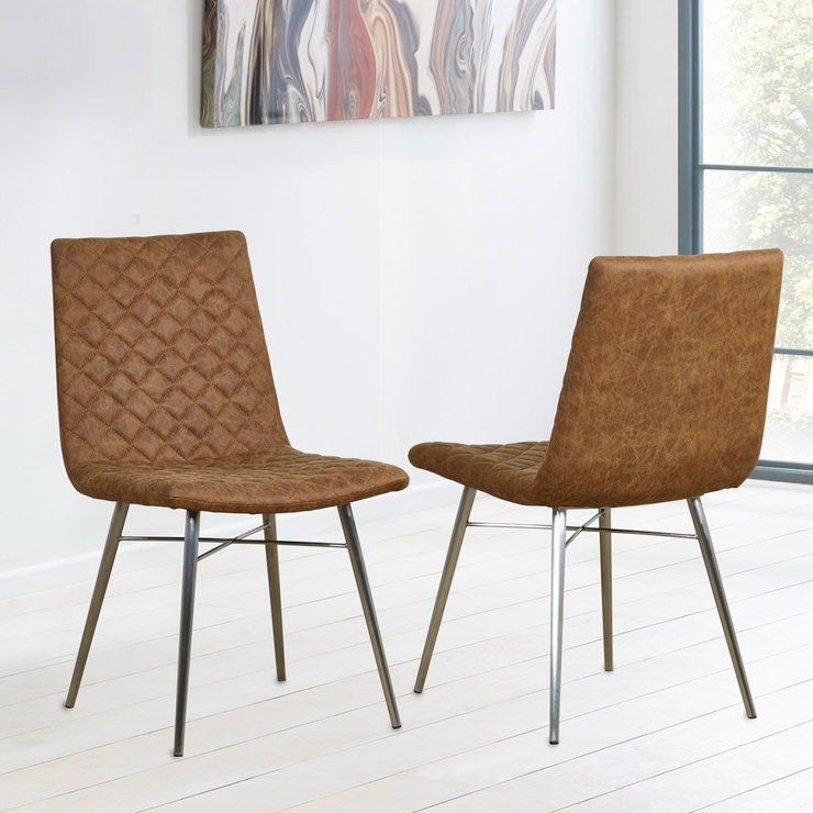 Costco Leather Dining Chairs: Brown Faux Leather Quilted Back Dining Chair, 2 Pack