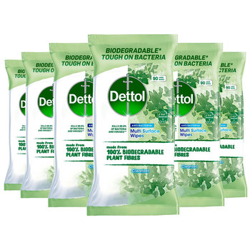 Dettol Biodegradable Antibacterial Multi Surface Cleaning Wipes, 6 x 90 Pack