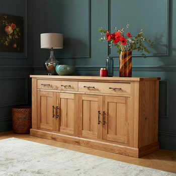 Bentley Designs Westbury Rustic Oak 4 Door Sideboard