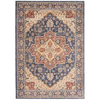 Lagos Navy Medallion Traditional Rug in 2 Sizes