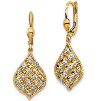 14ct Yellow Gold Diamond Cut Teardrop Earrings