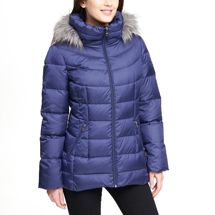 296dbad846f Andrew Marc Women s Short Down Jacket with Hood in Blue