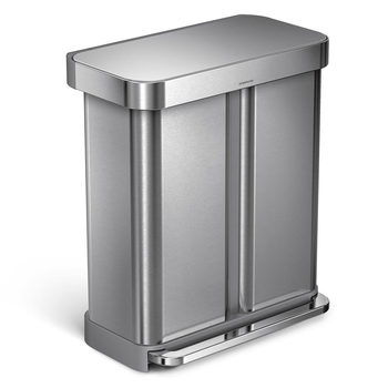 simplehuman 58 Litre Stainless Steel Rectangular Dual Compartment Recycler Bin with Liner Pocket in 3 Colours