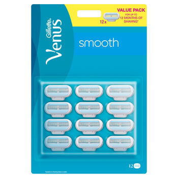 Gillette Venus Smooth Razor Blades, 12 Pack