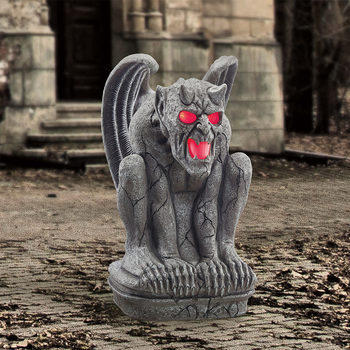 "Halloween 2ft 3"" (70cm) Grimacing Gargoyle With Glowing LED Eyes and Mouth with Sound"
