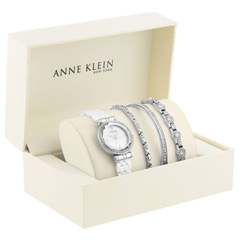 Anne Klein New York Swarovski Crystal Accented Ladies Silver Tone Watch Set