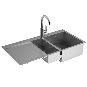 Kohler True Stainless Steel  Sink with Draining Board and Taut Single-Lever Mixer Tap Bundle
