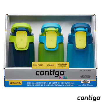Contigo Autoseal Gizmo Sip Kids 415ml Water Bottles, 3 Pack in 2 Colours