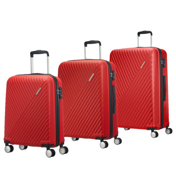 American Tourister Visby 3 Piece Hardside Suitcase Set, Red