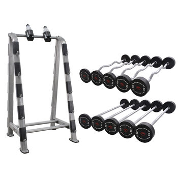 Steelflex® NBR Barbell Storage Rack with Barbell Sets - 10kg to 30kg in Increments of 5kg