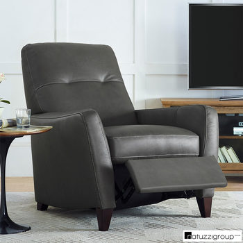 Natuzzi Grey Leather Pushback Recliner Armchair