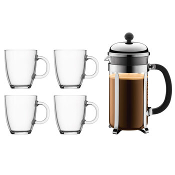 Bodum Pavina Chambord 8 Cup Coffee Maker and 4 Glass Mugs