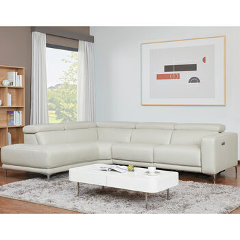 Kuka Redland Grey Leather Power Reclining Sectional Sofa