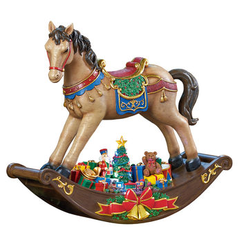 "19"" (48cm) LED Rocking Horse With Christmas Songs"