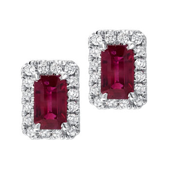 0.60ctw Octagon Ruby and 0.15ctw Diamond Stud Earrings, 18ct White Gold
