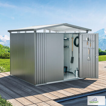 "Biohort Panorama P5 9ft x 10ft 4"" (2.7 x 3.2m) Double Door Steel Shed in 2 Colours"