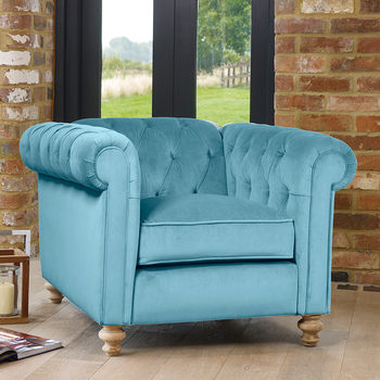 Chesterfield Button Back Velvet Armchair in 5 Colours