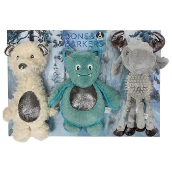 Bone & Barkers Winter Dog Toy in 2 Designs, Pack of 3