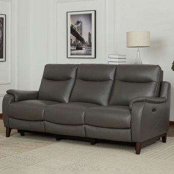 Kuka Barrett 3 Seater Grey Leather Power Reclining Sofa with Power Headrests