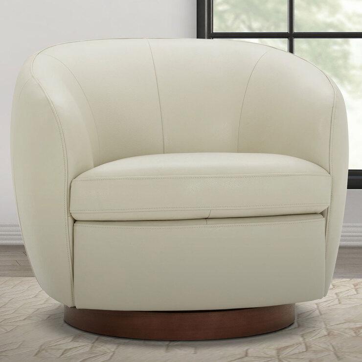 Top Grain Leather Swivel Tub Chair, Modern Swivel Bucket Chairs