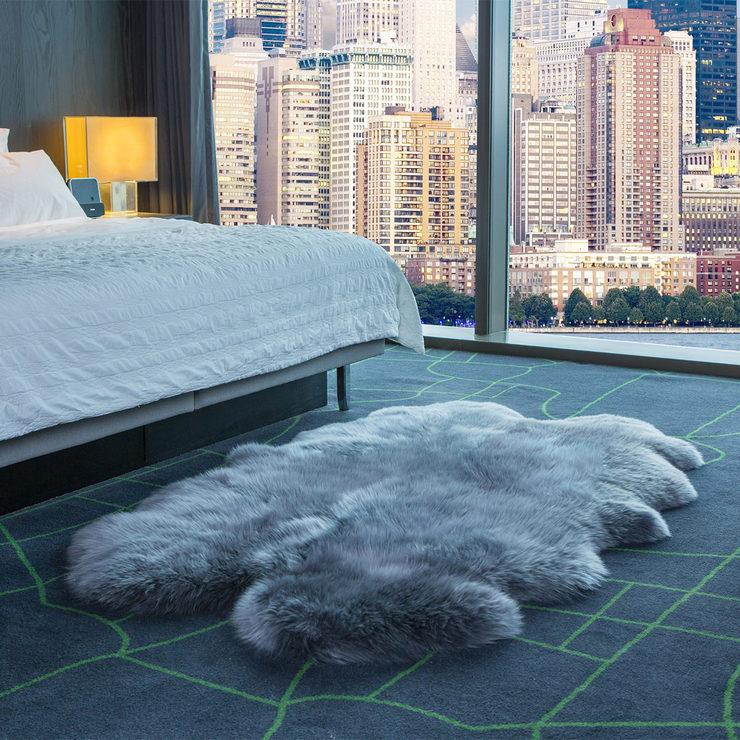 Windward 100 Sheepskin Quad Rug Grey Costco Uk