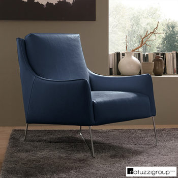 Natuzzi Navy Top Grain Leather Accent Chair