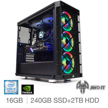 AWD-IT Fury 9, Intel Core i9, 16GB RAM, 240GB SSD  + 2TB HDD, NVIDIA RTX 2070 Super, Gaming Desktop PC