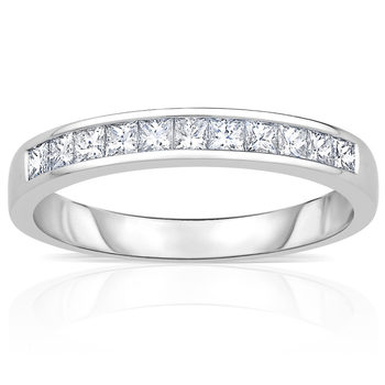 0.50ctw Princess Cut Diamond Half Eternity Ring, 18 ct White Gold,in 3 Sizes
