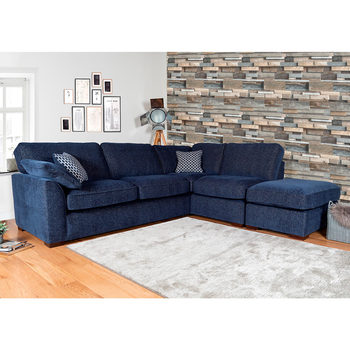 Lorna Navy Fabric Corner Sofa