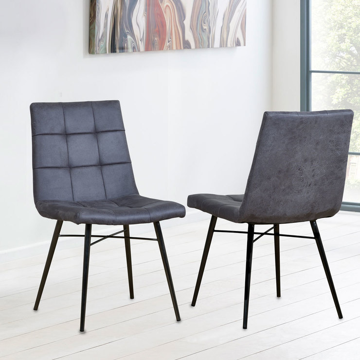 Wondrous Grey Faux Leather Dining Chair 2 Pack Costco Uk Unemploymentrelief Wooden Chair Designs For Living Room Unemploymentrelieforg