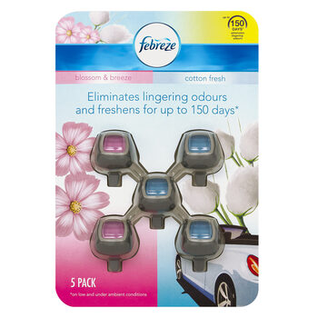 Febreze Car Clip on Air Freshener Cotton/Blossom Pack of 5