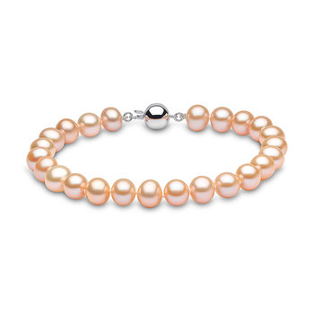 6-6.5mm Cultured Freshwater Peach Pearl Bracelet, 18ct White Gold