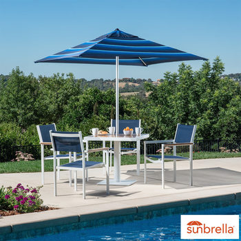 Santorini 6 Piece Sling Bistro Set + Umbrella