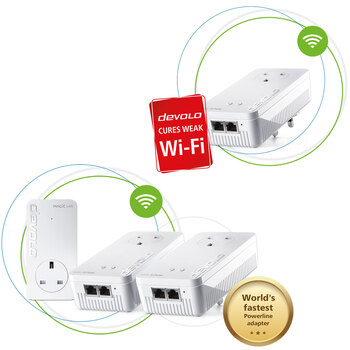 Devolo Magic 2 Wi-Fi Next AC Whole Home Mesh Kit with Additional Adapter
